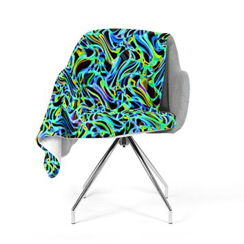 "Dawid Roc ""Camouflage FreeForm Movement 1"" Blue Digital Fleece Throw Blanket"