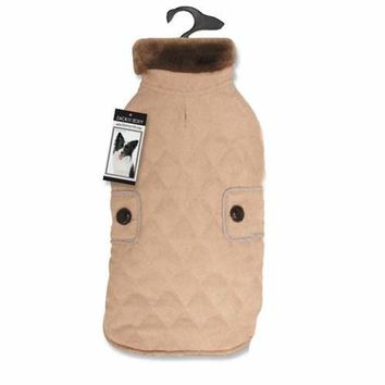 Zack and Zoey Elements Derby Quilted Dog Coat - Almond