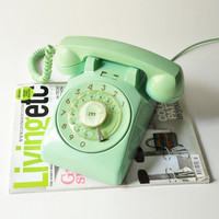 Vintage Aqua Mint Green - Teal Rotary Phone - Working