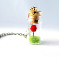 Terrarium Lorax Necklace, Red  Pom Pom Truffula Tree on Green Grass Needle Felted, Movie Lovers Gift