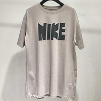 NIKE New fashion letter print couple top t-shirt Gray