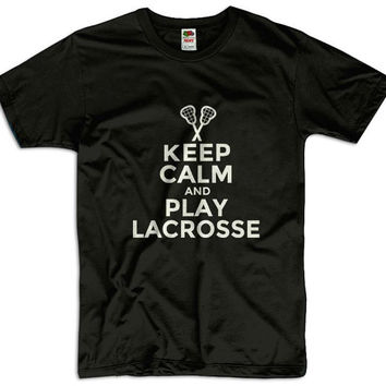 Keep Calm And Play Lacrosse Men Women Ladies Funny Joke Geek Clothes T shirt Tee Gift Present