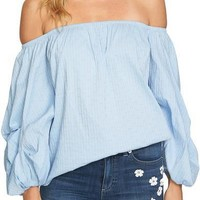 CECE Off the Shoulder Balloon Sleeve Top Bluebird $79