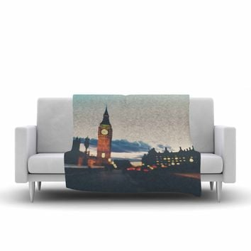"Laura Evans ""Crossing The Thames"" Blue Multicolor Photography Fleece Throw Blanket"