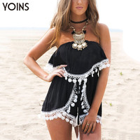 YOINS New 2017 Sexy Women Slash Neck Off Shoulder Semi-sheer Chiffon Romper Drawstring Waist Playsuit with Lace Tassel Details
