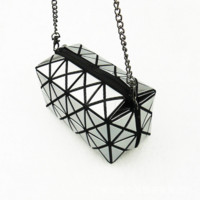 The glossy portable folding lady wallet long chain inclined shoulder bag