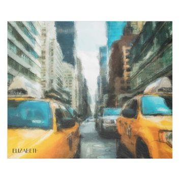 Yellow Taxi Cabs After Rain In New York City Fleece Blanket