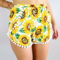 SUNFLOWER FLORAL PRINTS CROSSOVER WRAP POM POM BEACH SHORTS 6 8 10 12