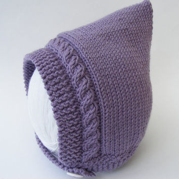 Baby Pixie Hat, Hand Knitted in Lilac Merino/Cashmere Wool, Any Size Newborn to Age 2 years, Made To Order