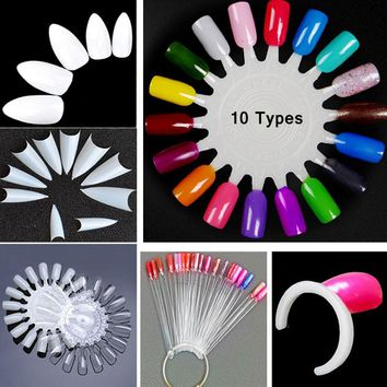 600PCS Artificial 3D Fake Nails Fan Round Shaped For Durable 10 Types 10 Size White Nutural color Nail Tips Art Design Tools