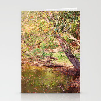 Autumn At Hickory Ridge Pond Stationery Cards by Theresa Campbell D'August Art