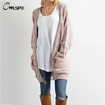CWLSP Casual Long Sleeve Computer Knitted Autumn Women Long Sweater Open Stitch Solid Pockets Female Cardigan Sweater   QZ2320