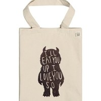 I Love You So, I'Ll Eat You Up | One Size Natural T-Shirt | Cute Where The Wild Things Are Tote Bag