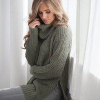 Cowl Neck Side Slit Sweater - Olive