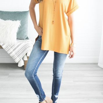 Let's Be Friends Rolled Sleeve V-NECK Tunic Top - Mustard