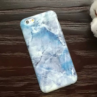 Unique Blue White Marble Stone Case for iPhone 5s 5se 6 6s Plus Gift 321