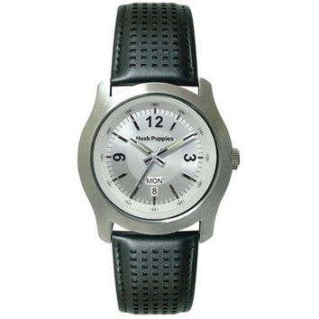 HUSH PUPPIES MEN'S BLACK LEATHER STRAP WATCH HP.3340M.2506