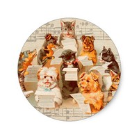 Cats & Dogs Singing, Vintage Arthur Thiele Classic Round Sticker
