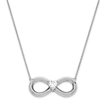 Sterling Silver CZ Infinity Heart Antiqued Forever 19in. Necklace