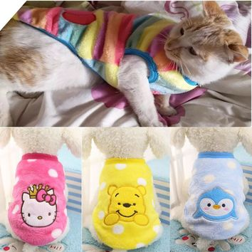 Autumn Winter Cat Clothes Cartoon Pet Clothing for Small Cats Outfits Coat Warm Soft Fleece Animals Vest Clothing XS-XXL