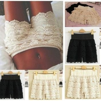 Fashion High Woman Waist Pant Skirt Multilayer Lace Hollow Out Hook Flower Crochet Hot Shorts = 1930041348