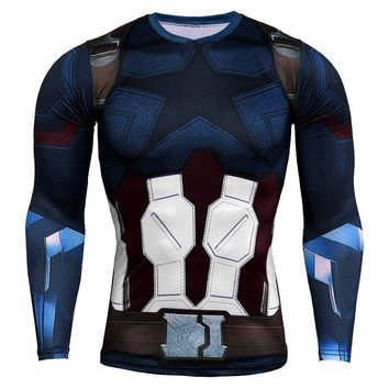 Avengers 3 Compression Long Sleeve T shirt Men Captain America 3D Print Tshirt Movie Character Streetwear Fitness Clothing 4XL