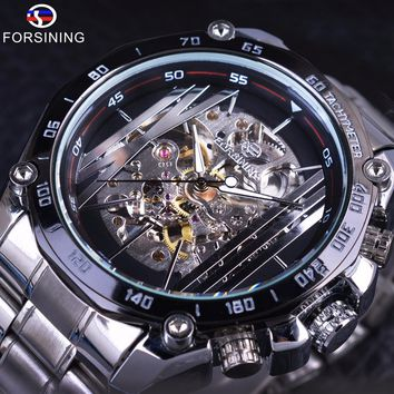 Forsining Military Sport Design Transparent Skeleton Dial Silver Stainless Steel Mens Watches Top Brand Luxury Automatic Watches