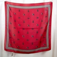 "Liz Claiborne Cat Scarf Red and Black 20"" x 20"" Kittens Cat Lady"