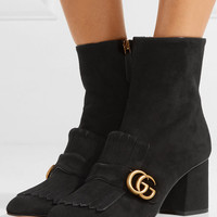 Gucci - Marmont fringed logo-embellished suede ankle boots