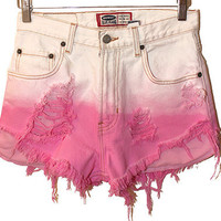 The Felicia Shorts (ombre white to pink high-waisted cutoff shorts)