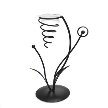 Metal Iron Stand Candle Holder, Black, 9-1/2-inch Spiral Flower