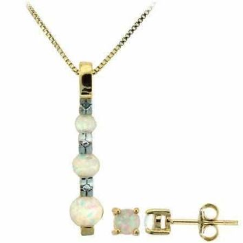 18K Gold over Sterling Silver White Opal & Diamond Accent 3 Stone Pendant & Stud Earrings Set