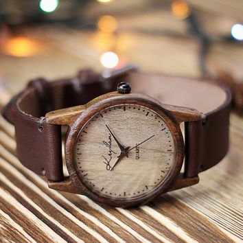 Wooden watch, womens wristwatch, walnut