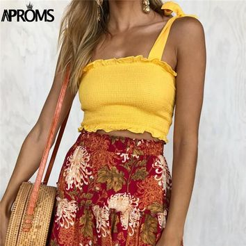 Aproms 90s Cool Girls Streetwear Elastic Crop Top Women Sexy Bow Ruffles Slim Female Camis 2018 Summer Solid Casual Tank Tops