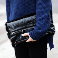 Black Rabbit Fur & Croc Fold Clutch Bag