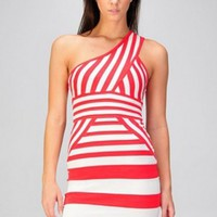 One Shoulder Stripe Variation Bandage Dress - Diva Hot Couture