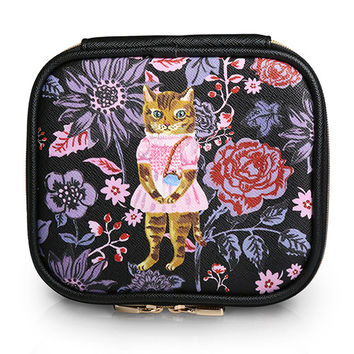 Square Cosmetic Pouch Nathalie Lete - Cat Black