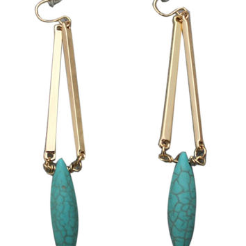 Golden Faux Turquoise Drop Hooked Earrings