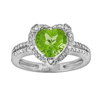 Sterling Silver Peridot & Diamond Accent Heart Frame Ring (Green)