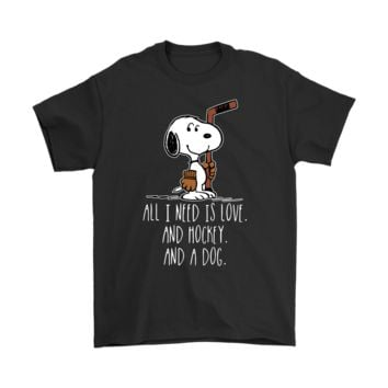 KUYOU All I Need Is Love And Hockey And A Dog Snoopy Shirts