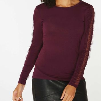 Berry Lace Insert Top | Dorothyperkins