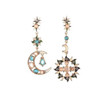 Doreen Box Alloy Rhinestone Star Stud Earrings Cabochon Sun Moon Pendants Fashion Asymmetric Earrings For Women Gift,1 Pair