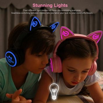 Foldable Glowing Cat Ear Headphones - LED Light For PC, Laptop, Mobile Phone