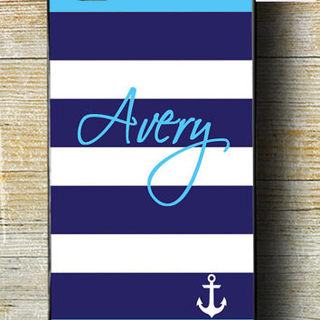 Anchor iPhone 5 Phone Case iPhone 6 plus case iPhone 6 case iPhone 5c phone case blue and white anchor iphone case with name