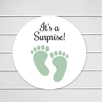 "120 - 1"" It's a Surprise Stickers, Gender Neutral Baby Shower Stickers (#519-MT)"