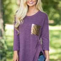 Purple Pocket Sequin Long Sleeve Blouse