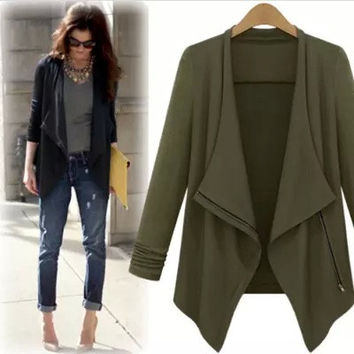 Plus Size Irregular Casual Coat Jacket [4918036740]