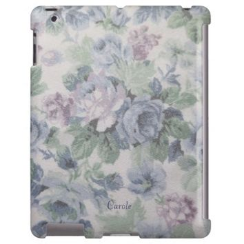 old blue floral fabric print iPad case