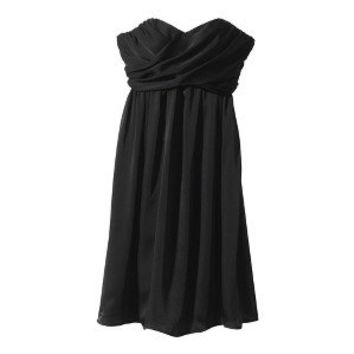 Women's Strapless Wrap-Front Chiffon Dress - Neutral Colors