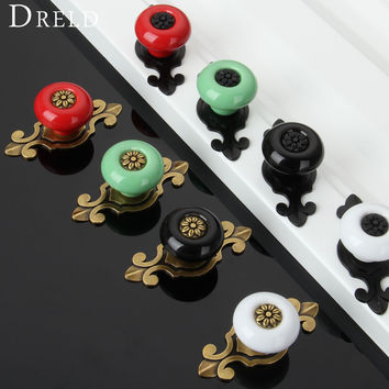 1Pc Vintage Furniture Handles Furniture Fitting Ceramic Cabinet Knobs and Handles Door Knob Cupboard Drawer Kitchen Pull Handles